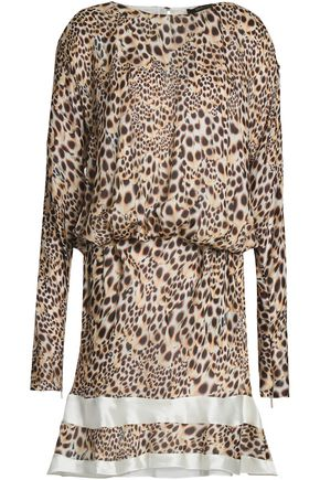 ROBERTO CAVALLI Satin-trimmed leopard-print silk mini dress