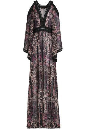 ROBERTO CAVALLI Cold-shoulder crochet-trimmed printed silk-georgette maxi dress