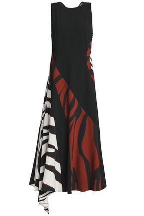 ROBERTO CAVALLI Draped zebra-print stretch-jersey and crepe midi dress