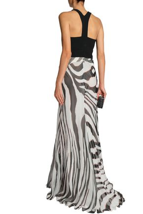 ROBERTO CAVALLI Croc-effect leather-paneled zebra-print silk-chiffon gown
