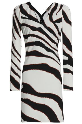 ROBERTO CAVALLI Cutout zebra-print stretch-jersey mini dress