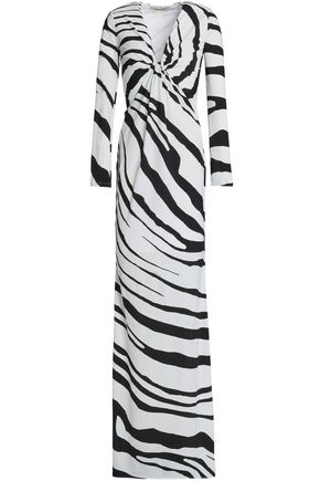 ROBERTO CAVALLI Twisted zebra-print stretch-jersey gown
