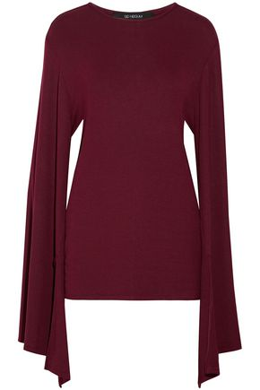 SID NEIGUM Draped ribbed-knit top