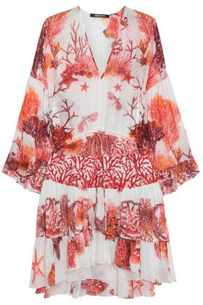 ROBERTO CAVALLI Embroidered tulle-paneled printed cotton and linen-blend mini dress