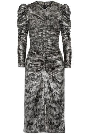 ISABEL MARANT Damia ruched printed silk-blend lamé dress