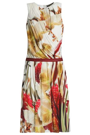 ROBERTO CAVALLI Wrap-effect printed stretch-jersey dress