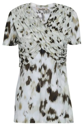 ROBERTO CAVALLI Ruched printed stretch-jersey top