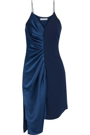 HALSTON HERITAGE Asymmetric ruched satin and crepe dress