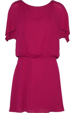 HALSTON HERITAGE Gathered voile mini dress