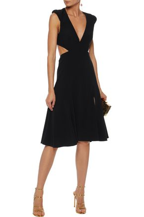 HALSTON HERITAGE Cutout crepe dress