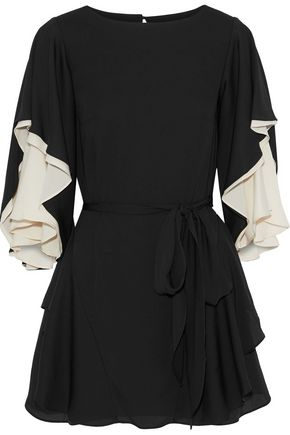 HALSTON HERITAGE Ruffled two-tone voile mini dress