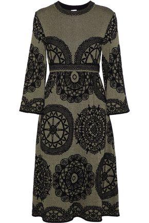 M MISSONI Flocked metallic jacquard-knit midi dress