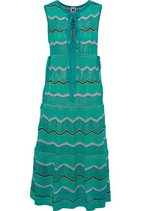 M MISSONI Bow-detailed crochet-knit cotton-blend midi dress