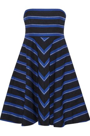 HALSTON HERITAGE Strapless metallic striped canvas dress