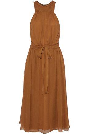 HALSTON HERITAGE Tie-front georgette midi dress