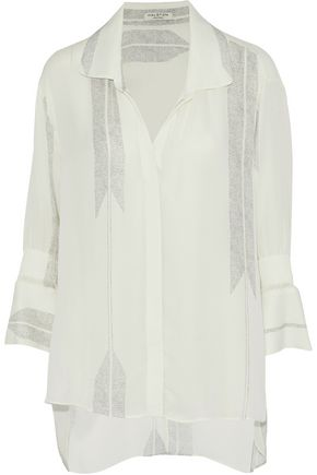 HALSTON HERITAGE Printed silk-blend crepe de chine shirt