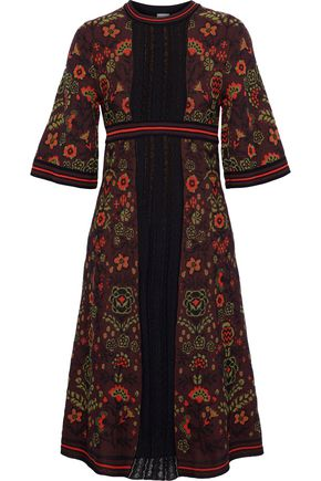 M MISSONI Lace-paneled jacquard cotton-blend dress