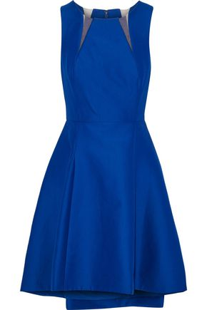 HALSTON HERITAGE Tulle-trimmed cotton and silk-blend mini dress