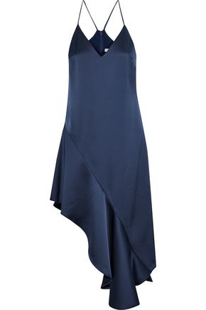 HALSTON HERITAGE Asymmetric satin-crepe dress