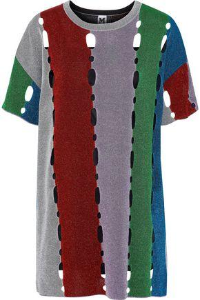 M MISSONI Cutout metallic color-block crochet-knit mini dress
