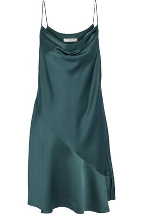 HALSTON HERITAGE Draped chiffon-paneled satin-crepe dress