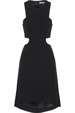 HALSTON HERITAGE Fluted cutout cady dress