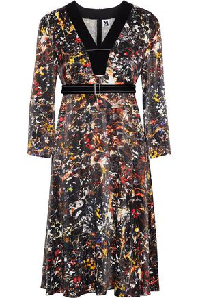 M MISSONI Belted printed cotton-jersey dress
