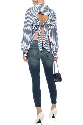 CURRENT/ELLIOTT The Des tie-back striped cotton-poplin shirt