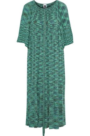 M MISSONI Pleated metallic intarsia-knit midi dress