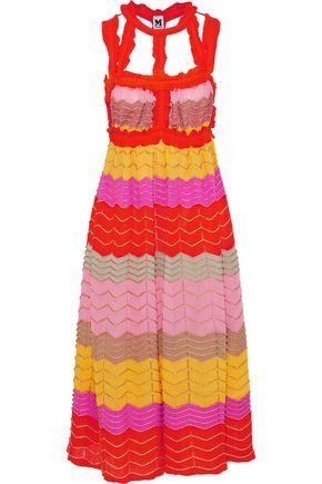 M MISSONI Cutout metallic crochet-knit cotton-blend midi dress