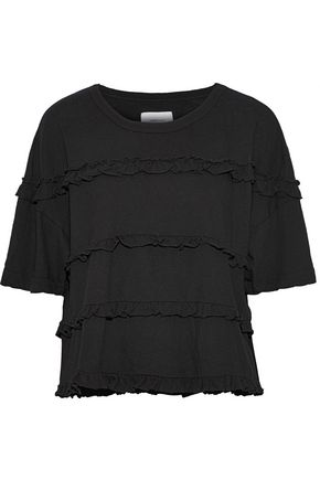 CURRENT/ELLIOTT The Claudia ruffle-trimmed cotton-jersey T-shirt