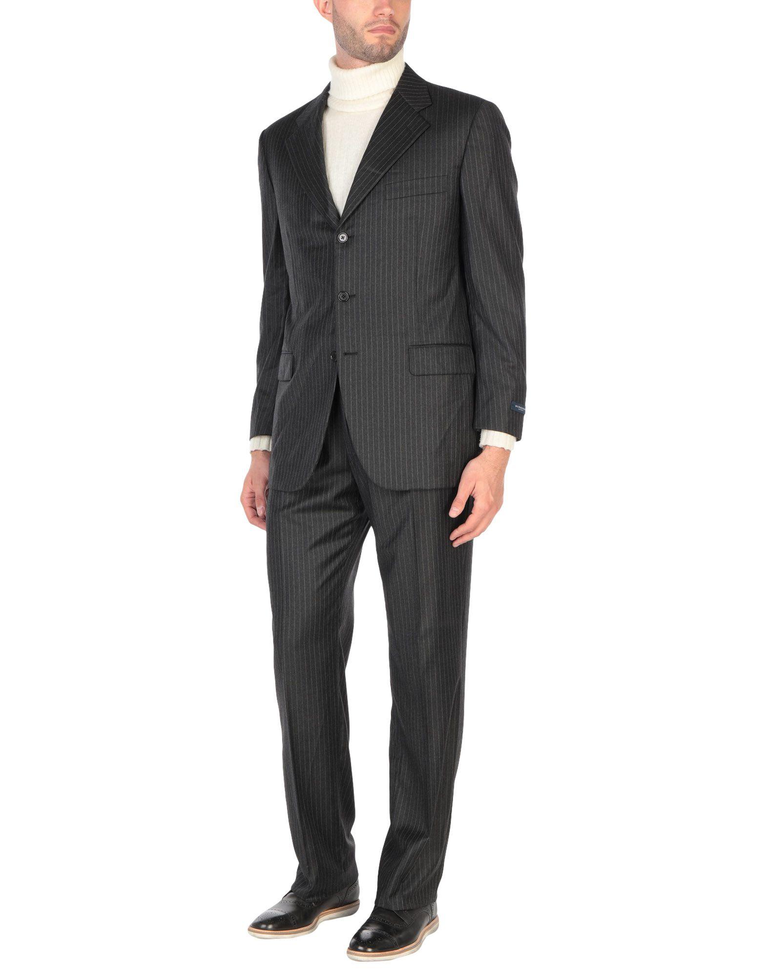 《送料無料》BURBERRY メンズ スーツ スチールグレー 54 スーパー120 ウール 100%