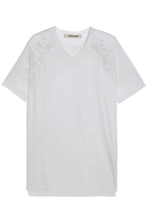 ROBERTO CAVALLI Embellished cotton-jersey T-shirt