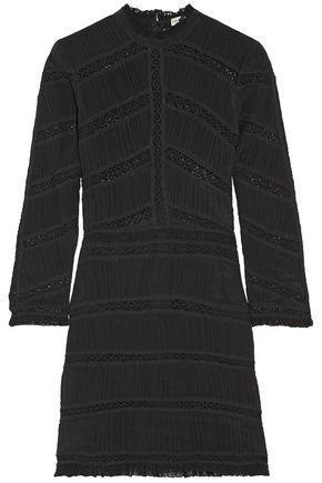 ULLA JOHNSON Kitty lace-paneled plissé silk-chiffon mini dress