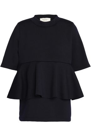 MARNI Layered wool-blend peplum top