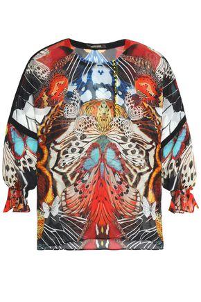 ROBERTO CAVALLI Ruffle-trimmed printed silk-georgette blouse