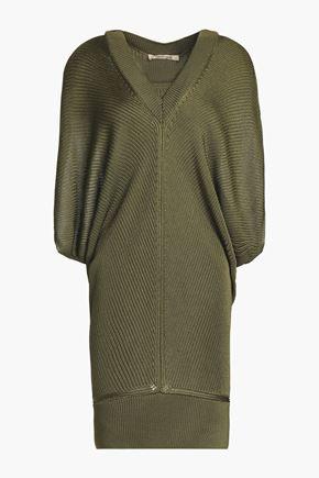 ROBERTO CAVALLI Layered draped ribbed-knit mini dress