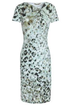 ROBERTO CAVALLI Gathered printed stretch-jersey dress