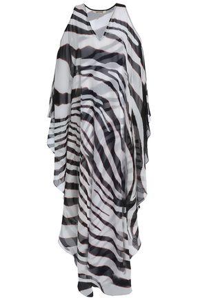 ROBERTO CAVALLI Cold-shoulder zebra-print silk-chiffon maxi dress