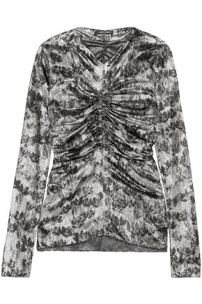 ISABEL MARANT Bluzka ruched printed silk-blend lamé top