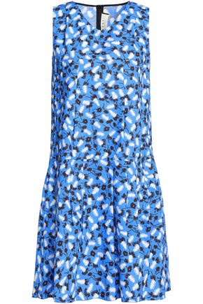 MARNI Pleated printed cotton-poplin dress