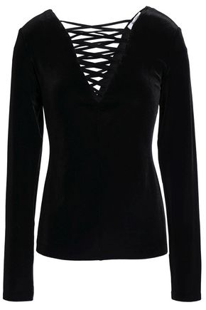 BAILEY 44 Coven lace-up velvet top