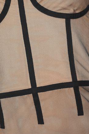 CUSHNIE Grosgrain-trimmed tulle bodysuit