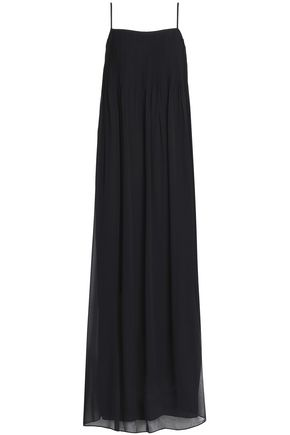 VINCE. Pintucked silk-georgette maxi dress