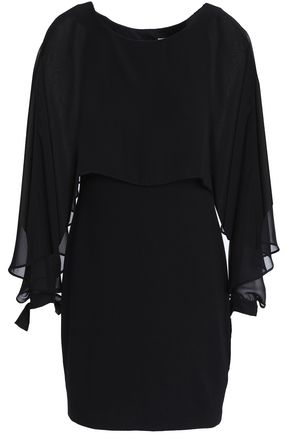 BAILEY 44 Dessous cape-effect chiffon-paneled stretch-jersey mini dress