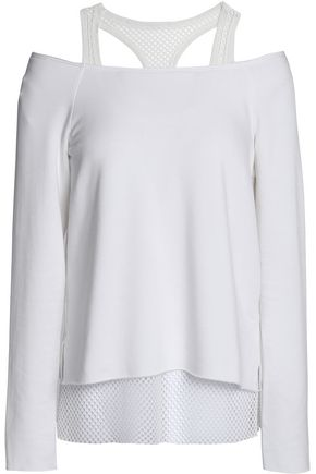 BAILEY 44 Cold-shoulder mesh-trimmed stretch-modal fleece top