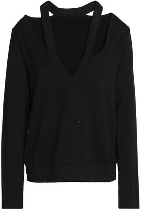 BAILEY 44 Spin Off crystal-embellished cutout stretch-modal fleece sweatshirt