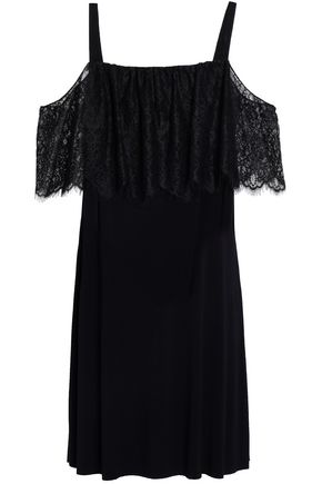 BAILEY 44 Dark Horse cold-shoulder lace-paneled stretch-jersey mini dress