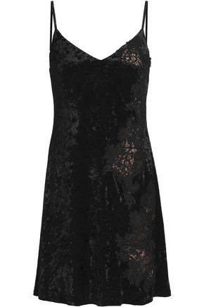 BAILEY 44 Casting Couch guipure lace-paneled crushed-velvet mini dress