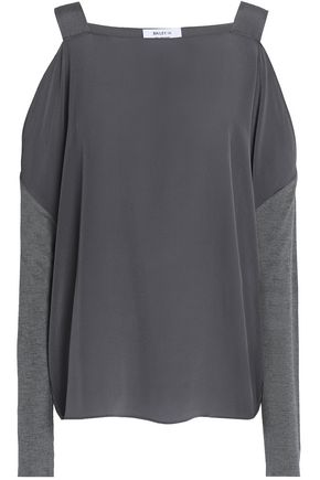 BAILEY 44 Cold-shoulder silk crepe de chine blouse